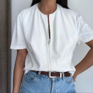 AKRIS punto short sleeve zip up cardigan top 10